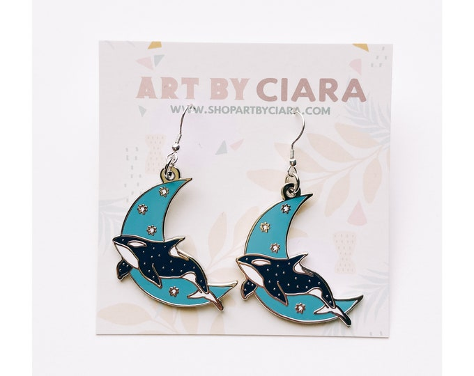 Silver Celestial Orca Earrings
