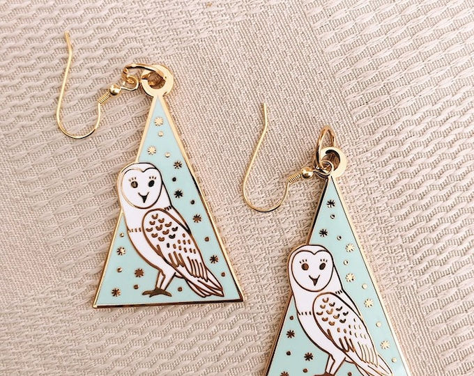 wise owl gold plated earrings