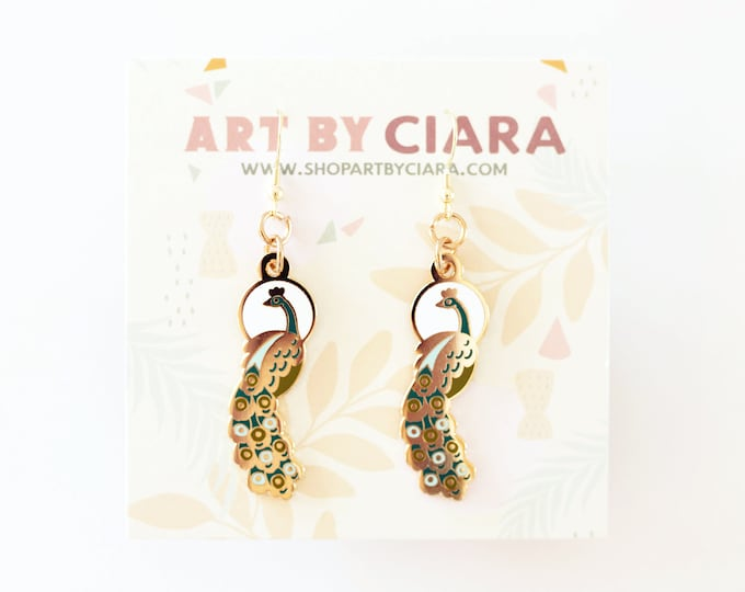 Gold Peacock Earrings