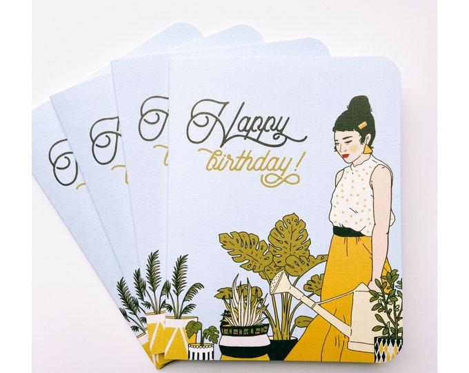 Greeting Cards 4pk- Happy Birthday Houseplants