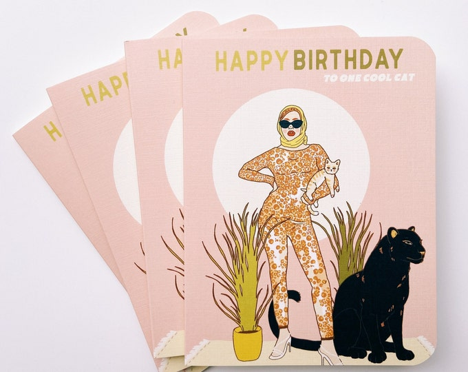 Greeting Cards 4pk- Happy Birthday One cool Cat