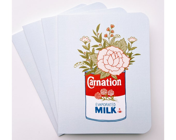 Greeting Cards 4pk- carnation milk & flowers