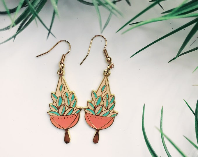 Macrame Hanging Plant gold plated earrings