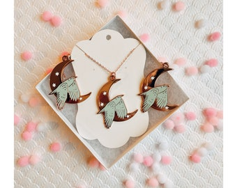 Earrings and Necklace Set - Rosegold Celestial Bird