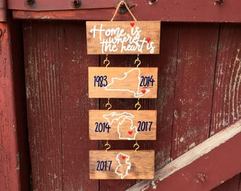custom | home sign | places we've lived | wooden tiles | wall hanging | state outlines