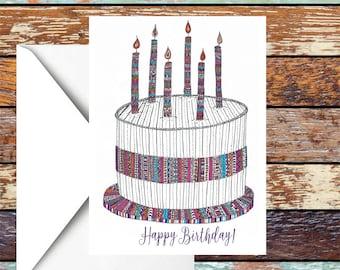 Rosa und lila Feier/Geburtstag Kuchen-Karte - A6