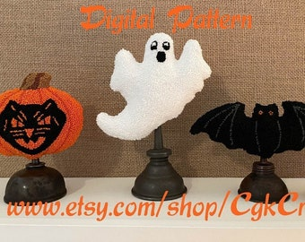 Halloween Punch Needle Digital Pattern Bowl Fillers/Oil Can Toppers