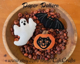 Halloween Punch Needle Paper Pattern Bowl Fillers/Oil Can Toppers
