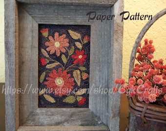 Autumn Floral Punch Needle Paper Pattern