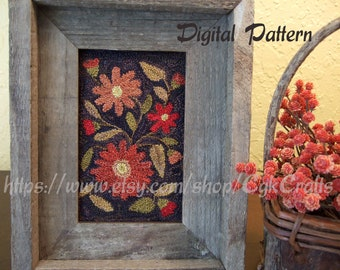 Autumn Floral Punch Needle Digital Pattern E-Pattern Instant Download