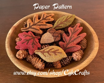 Autumn Fall Leaves/Acorn Punch Needle Bowl Fillers Paper Pattern