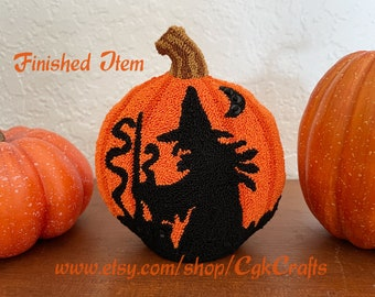 Witch's Brew Halloween Punch Needle Sculpture Finished Item Handmade Collectible
