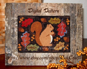 Autumn Squirrel and Berries Punch Needle Pdf E- Pattern Instant Download