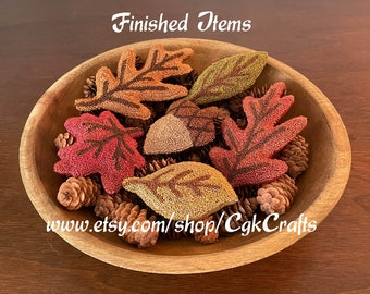 Punch Needle Handmade Autumn Leaves and Acorn Collectible Decor Bowl Fillers Finished Items
