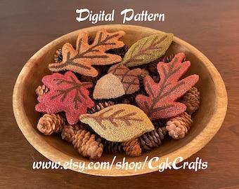 Autumn Fall Leaves/Acorn Punch Needle Bowl Fillers PDF Digital Download Pattern/E-Pattern