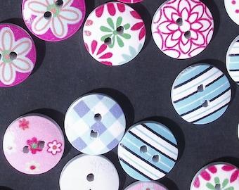 DESTASH WOODEN BUTTONS,Button Lot,Painted Wood Buttons,Craft Sewing Supplies,Scrapbook Supplies,Plaid,Polka Dot,Round Variety Destash Button