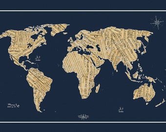 World music map etsy world map sheet music map world map map of the world world map poster large world map world map print world map art blue gumiabroncs Images