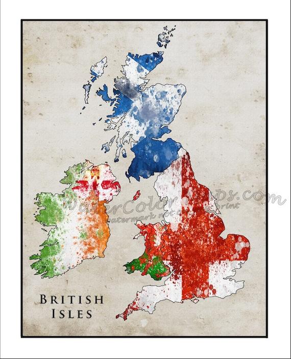 BRITISH ISLES Map Watercolor Flag Map England Map British | Etsy