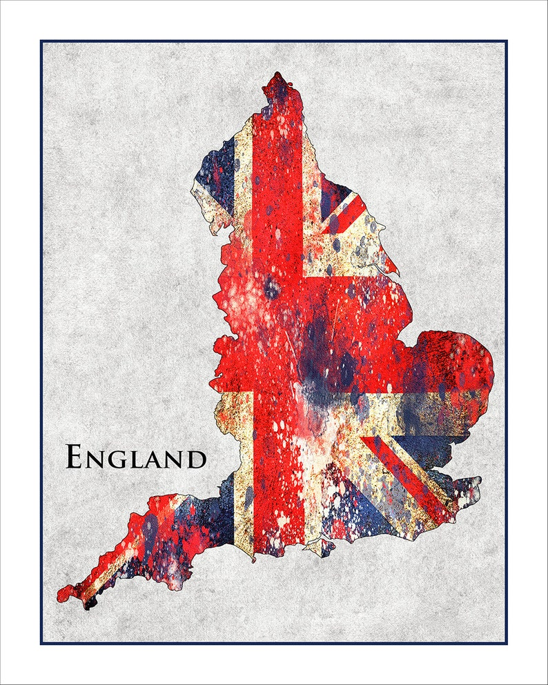 Map Of England Showing London.England Map Union Jack Map Of England Britain London Etsy