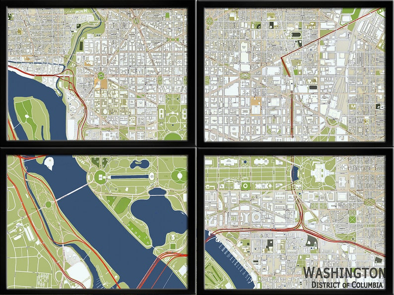 Map of Washington DC Panel Map Divided Map Washington DC | Etsy