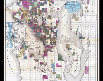 SEATTLE MAP 1890, Vintage Maps, Custom Maps, Antique Maps, WASHINGTON