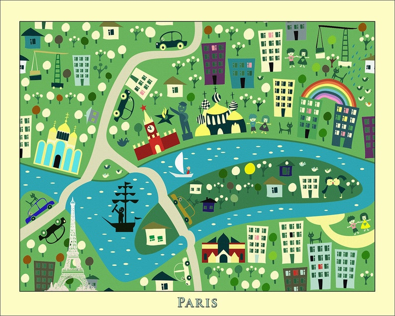 KIDS Maps Kids PARIS Map Childrens Maps Kids Map of FRANCE | Etsy Kids Map on