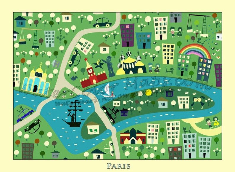 Kids Maps Kids Paris Map Childrens Maps Kids Map Of France Etsy