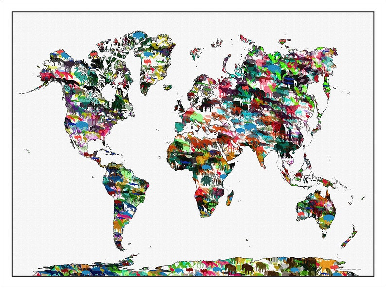 Karten Kinder Kids WORLD MAP Kinder Tiere Drucke Childrens | Etsy