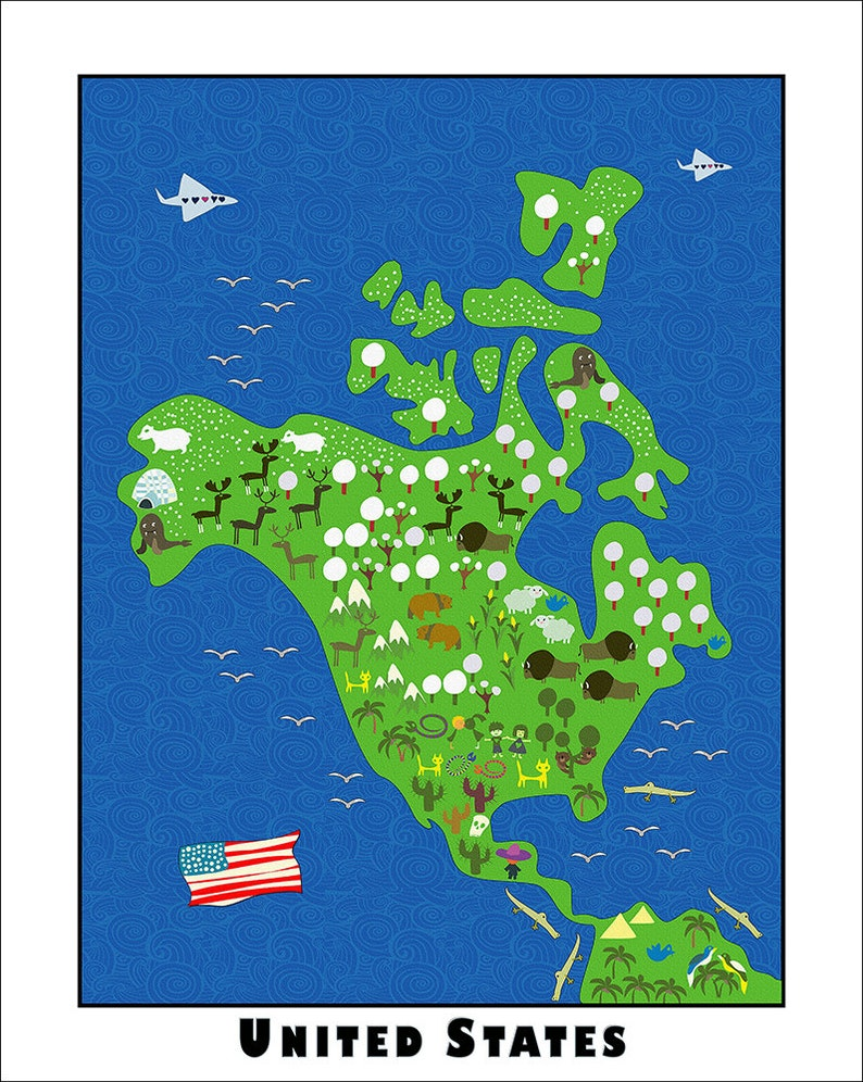 Kids Maps United States Map Childrens Maps Usa Kids Map Etsy