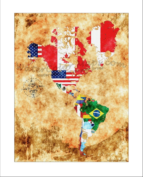 The Americas World Map North America South America World Etsy
