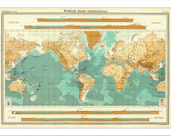 World Map, Map of the World, World Map Poster, Large World Map, World Map Print, World Map Art, Vintage Map 1900, Map Art