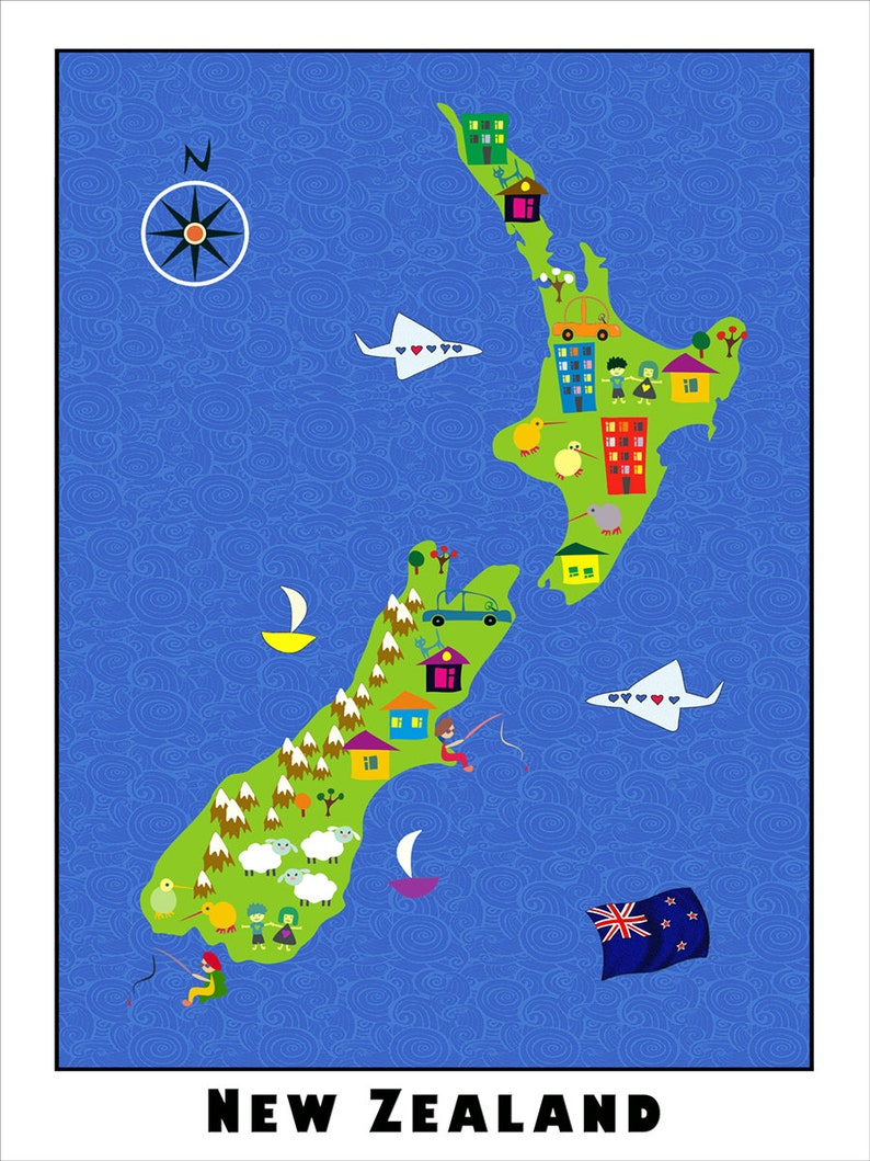 A Map Of New Zealand.Kids Maps New Zealand Map For Kids Childrens Maps Map Of New Zealand Kids Wall Maps Kids Room Kids Decor Boys Room Girls Room