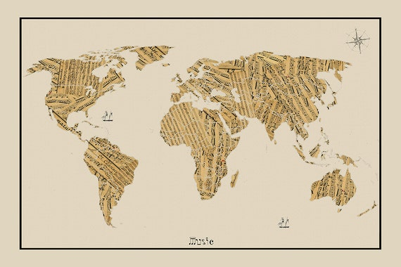 WORLD MAP, Sheet Music Map, World Map, Map of the World, World Map Poster,  Large World Map, World Map Print, World Map Art, Map art