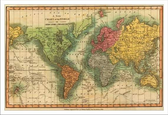 Large Vintage Map Of The World.World Map Map Of The World Vintage Map 1811 World Political Etsy