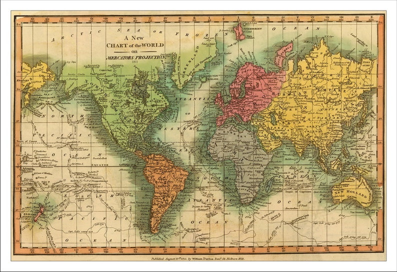 A Political Map Of The World.World Map Map Of The World Vintage Map 1811 World Political Map World Map Poster Large World Map