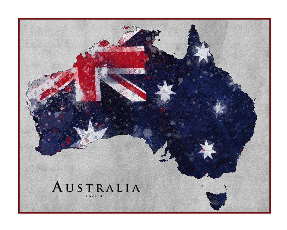 Karte von Australien Queensland Australien Flagge Perth | Etsy