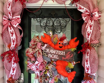 Crawfish Wreath, Summer Wreath, Crawfish Party Decor, Crawfish Boil, Wreath  With Garland, Front Door Wreath