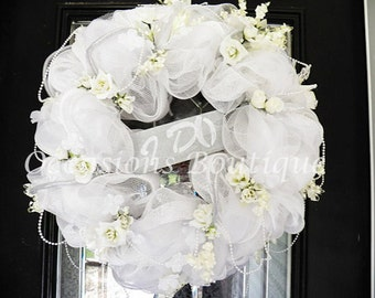 b45fa5d0b9a Wedding Wreath- Bridal Shower Wreath- Wedding Decoration- Bridal Shower  Decoration- White Wedding- Made to Order