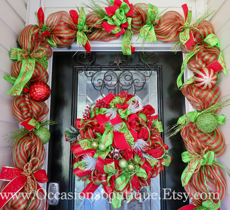 Whimsical Christmas Wreath With Door Garland Holiday Wreath Etsy