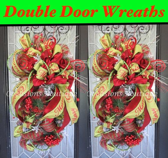 Double Door Christmas Wreaths Christmas Door Swag Christmas Etsy