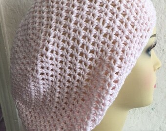 Slowchy Crocheted Pale Pink Boho Hat