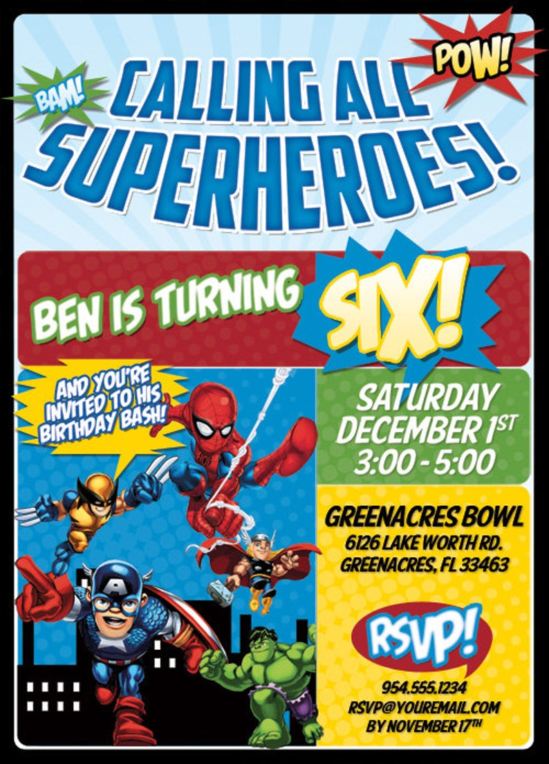 SuperHero Birthday Invitation Digital File | Etsy