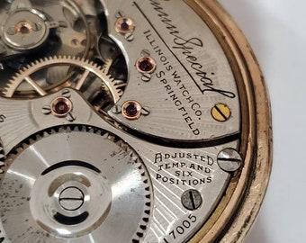 1918 Illinois Bunn Special pocket watch 21j,  running 6 pos