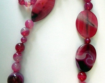 Raspberry Quartz Stalactite Bead Necklace 29 1/2""