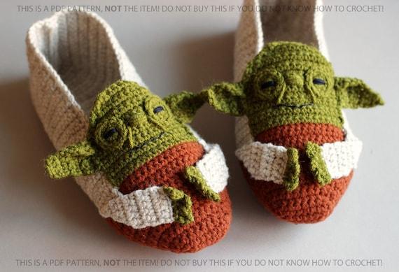 Star Wars Crochet Pattern Crochet Slippers Patterns Yoda Etsy Classy Star Wars Crochet Patterns