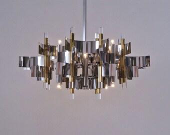 Sciolari Chandelier Futura 12 Lights, Brass, Chrome U0026 Lucite, 1976 Italian