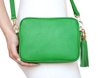 0184b3b1462 Green bag, leather bag, green leather bag, green crossbody, green shoulder  bag, green everyday bag, green tassel bag, bag
