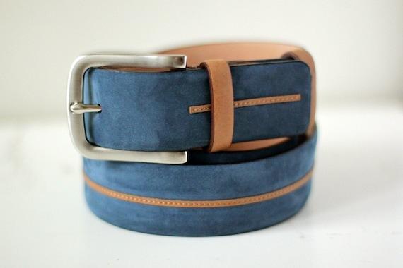 a5e5ab3ae039 Livraison gratuite Ceinture bleue ceinture en cuir bleu   Etsy