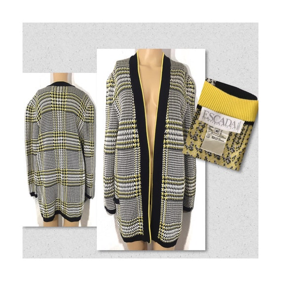 1990s ESCADA Houndstooth Checkered Sweater Jacket