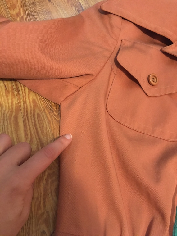 1960s /// Salmon Pink Long Trench Coat Small - image 7